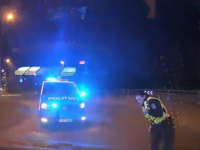Видео: эстонские полицейские протаранили байкера-нарушителя