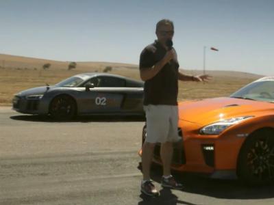 Видео: Nissan GT-R против Audi R8 V10