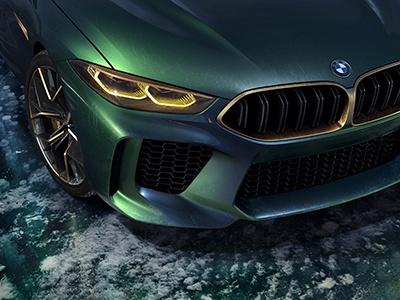 Концепт четырехдверного BMW M8 представили в змеином окрасе