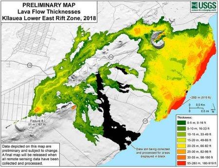 Прошлогоднее извержение вулкана увеличило площадь Гавайев на 350 гектаров